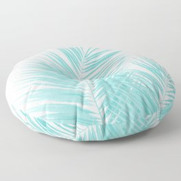 Soft Turquoise Palm Leaves Dream - Cali Summer Vibes #1 #tropical #decor #art #society6 Floor Pillow