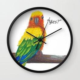 """Yes?"" Bird Wall Clock"