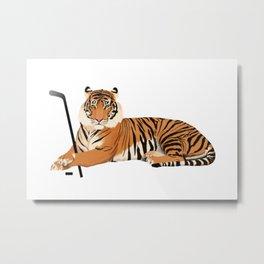 Ice Hockey Tiger Metal Print