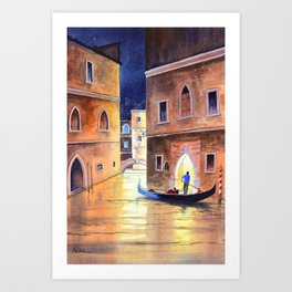 Venice Italy Evening Gondola Ride Art Print