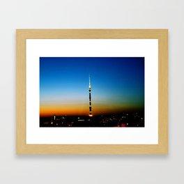 Tower Ostankino. Moscow at dusk. Framed Art Print