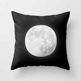 CHALK WHITE MOON Throw Pillow