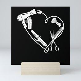 Barber Hairdresser Scissors Comb As A Heart Gift Mini Art Print