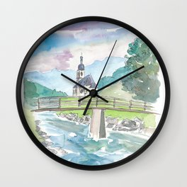Ramsau Bavaria Church on Creek and Mountains Wall Clock