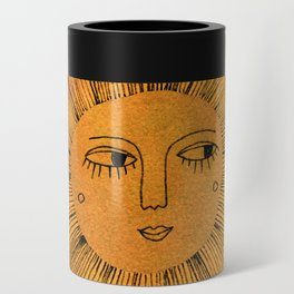 Sun Drawing - Gold and Blue Can Cooler