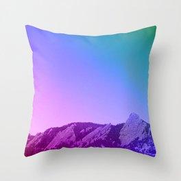 Boulder Colorado Flatirons Decor \\ Chautauqua Park Purple Pink Blue Green Nature Bohemian Style Art Throw Pillow