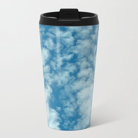 Fluffy clouds in a blue sky Metal Travel Mug