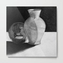 Vase with Sphere Metal Print
