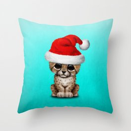 Christmas Cheetah Wearing a Santa Hat Throw Pillow
