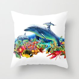 Lively Coral Reef Throw Pillow