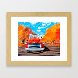 Old Red Truck On A Clear Fall Day Framed Art Print
