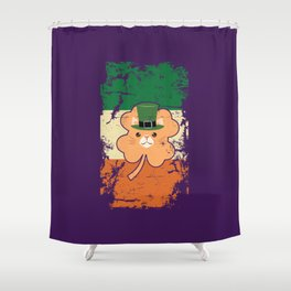 Irish Flag St Patricks Leprechaun Cat Purple Shower Curtain
