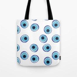 Evil Eye Watercolor Pattern (Mati) Tote Bag