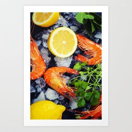 Tiger Shrimps on Ice with lemon and herbs Art Print