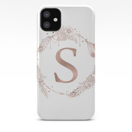 Letter S Rose Gold Pink Initial Monogram iPhone Case
