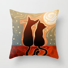 couple of cats in love on a house roof Throw Pillow