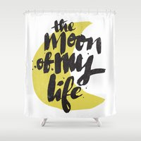 thrones Shower Curtains featuring Moon by Matthew Taylor Wilson