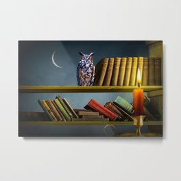 Surrealistic Image of an Owl on a Bookshelf lit by a Red Candle Metal Print