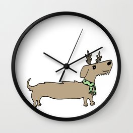 Dacshund Reindeer Wall Clock