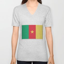 Flag of Cameroon.  The slit in the paper with shadows.  Unisex V-Neck