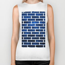 Blue brick wall Biker Tank