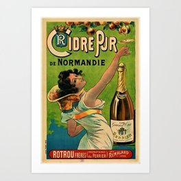 1889 Vintage Pure Cider of Normandy, Rotrou frères (Perrier) By Pichot Poster Art Art Print