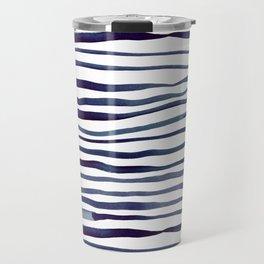 Irregular watercolor lines - indigo Travel Mug