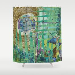 Teal Brown Blue Seed Abstract Art Collage Shower Curtain