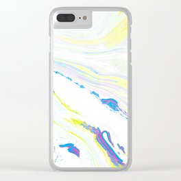Blue & Yellow Marbling Clear iPhone Case
