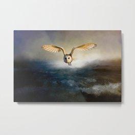 An owl flies over the lake Metal Print