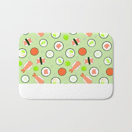 Cute Sushi Pattern Green  Bath Mat