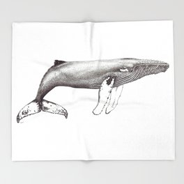 Humpback whale black and white ink ocean decor Throw Blanket
