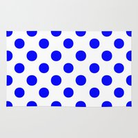 polka dots Area & Throw Rugs featuring Polka Dots (Blue/White) by 10813 Apparel