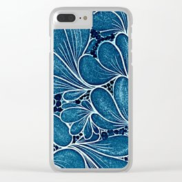 Funny flower in blue Clear iPhone Case