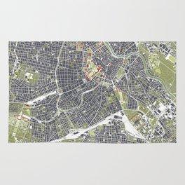 Vienna city map engraving Rug