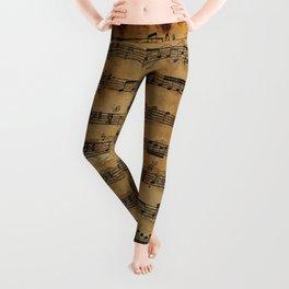 Grunge Sheet Music Music-lover's Design Leggings