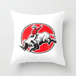 Rodeo Cowboy riding a rhino Throw Pillow