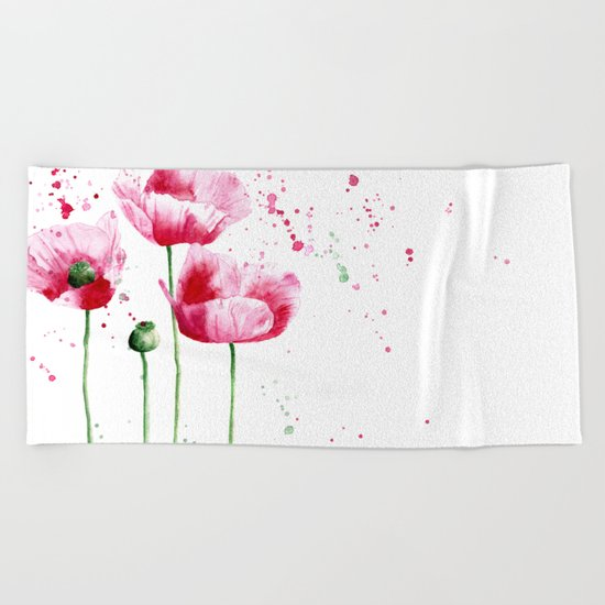 Expressive poppies    watercolor Beach Towel