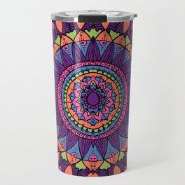 Groovy Dayglo Boho Mandala Travel Mug