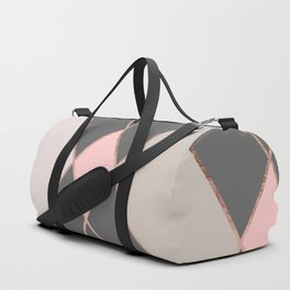 Modern pastel pink gray color block rose gold stripes Duffle Bag