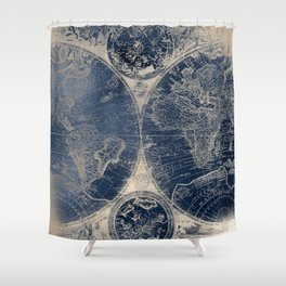 Antique World Map Gold Navy Blue Library Shower Curtain
