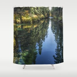 A Watery Avenue of Trees Shower Curtain