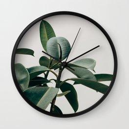 Minimalist Mid Century Modern House Plant Green Leaves Wall Clock