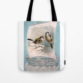 Vintage Birds on a Boat Tote Bag