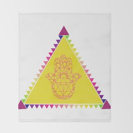 Merkaba Triangle Yellow Throw Blanket