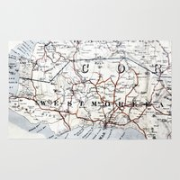 jamaica Area & Throw Rugs featuring Map Section: Jamaica by Shaunia McKenzie