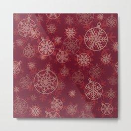 Red Christmas Snowflakes Design Pattern Metal Print