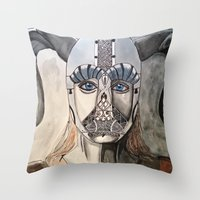 viking Throw Pillows featuring Viking by Hannah Brownfield Camacho