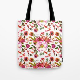 Blush pink orange green watercolor modern roses berries Tote Bag