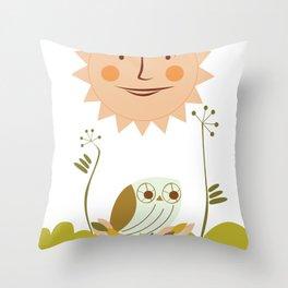 Owl sun Throw Pillow